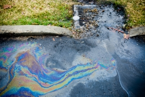 Oil Runnoff into a Stormwater Drain