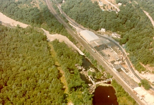 Mill discharge into river, 1970s