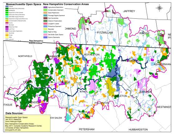 Map of Open Space in the Millers River Watershed