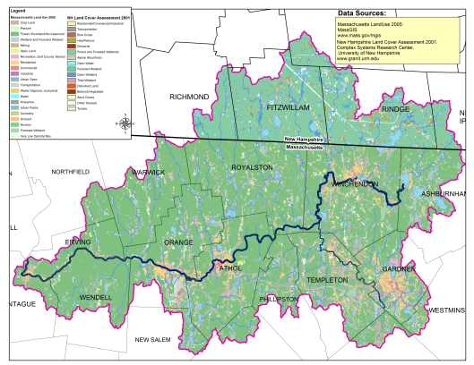 Map of Land Use in the Millers River Watershed