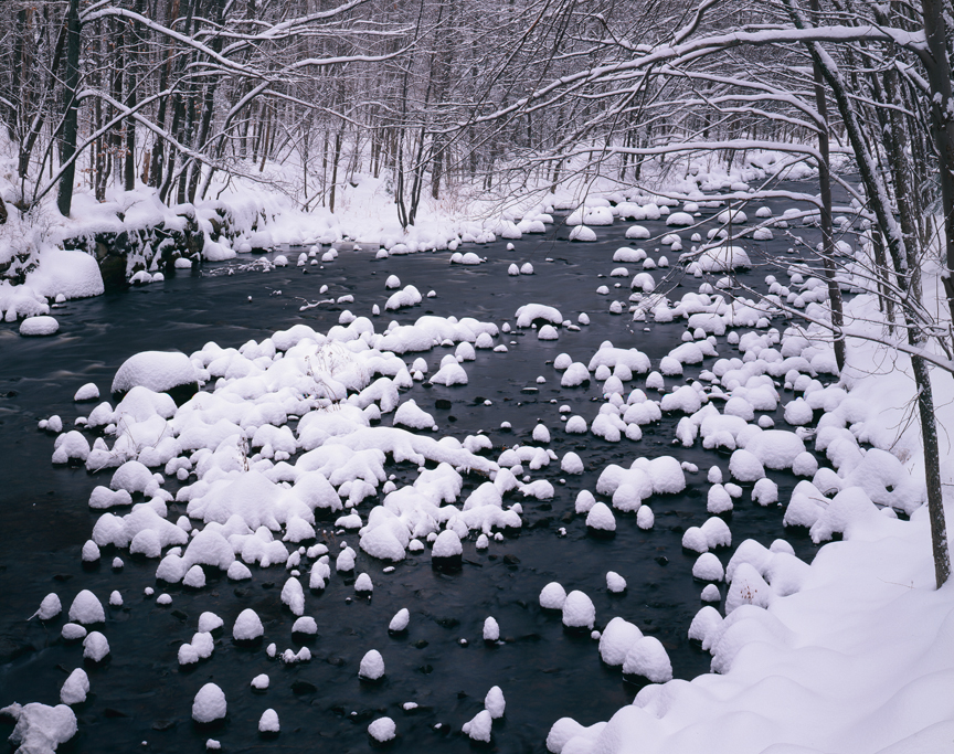 Fresh snow on the Millers River, Winchendon